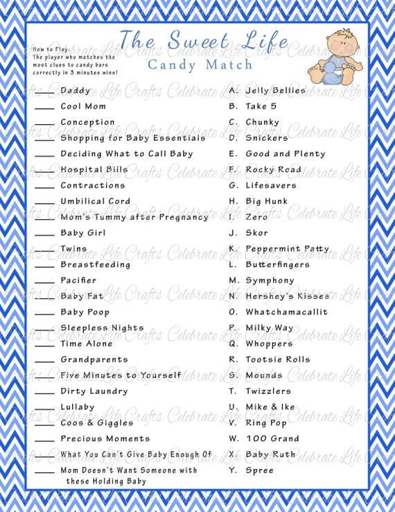 Magic image for baby shower candy bar game printable