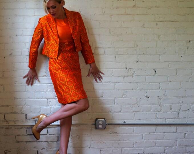 Secretary Dress Suit 1960s Vintage Orange Flame Print Dress Set SMALL Womens Suit Sheath & Bolero Short Jacket Tangerine Asian Flame Print
