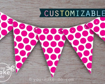 girl baby shower banner, girl birthday banner, party printables, pink party, hot pink party, fuschia party, bright pink party, pink birthday