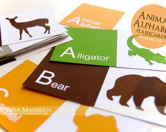 Printable Alphabet Flashcards - Animal