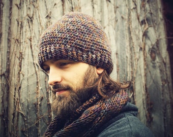 Mens Hat and Scarf Set, Mens Hats, Winter Hat, Hippie Hat, Handmade Men's scarves, Mens winter Accessories, Mens Beanie,Gifts for Him