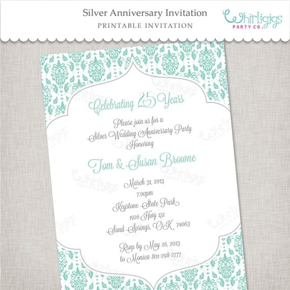 25th Silver Anniversary Printable Invitation By