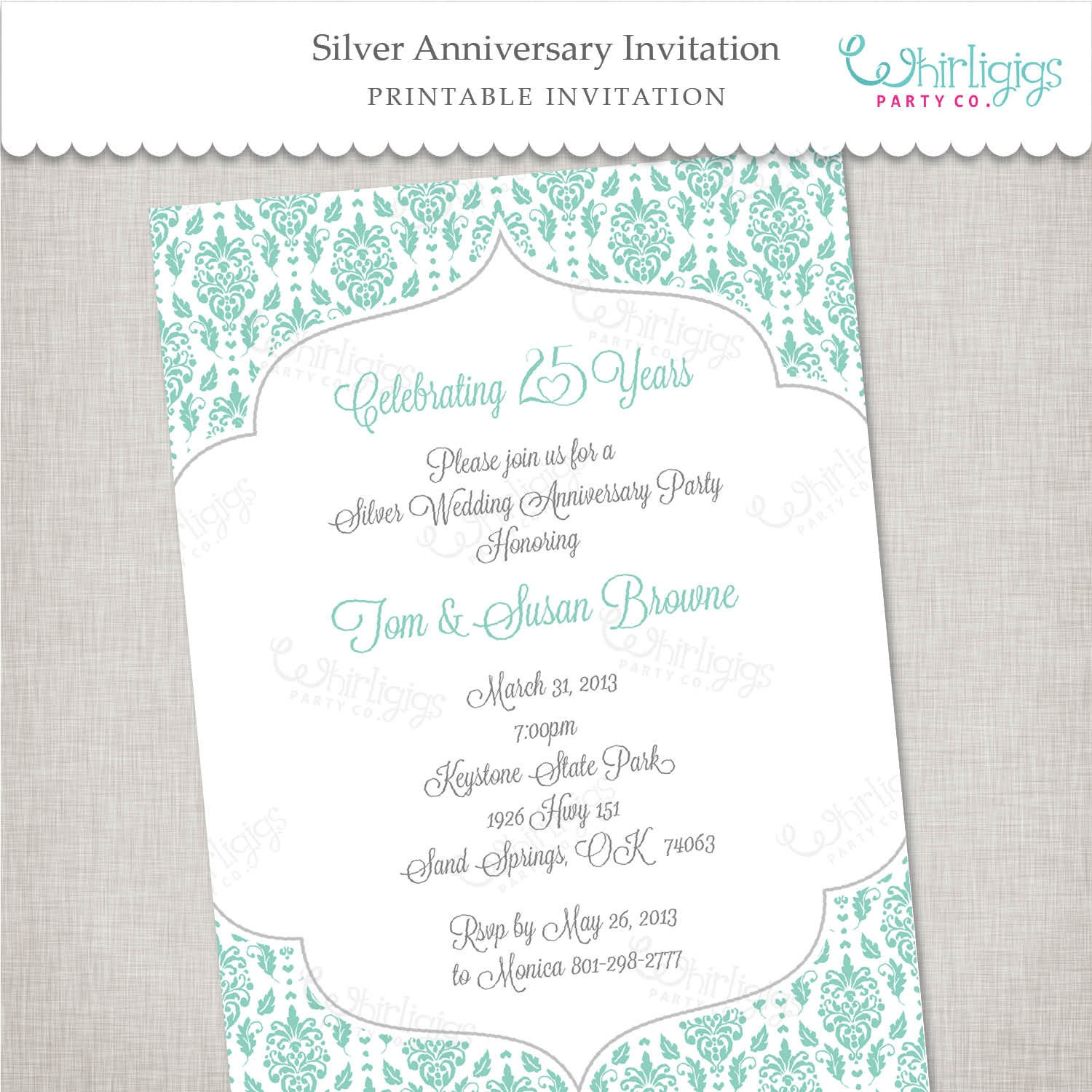 25th Silver Anniversary Invitation In Blue And Silver