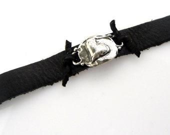 Artisan Heart Jewelry Bracelet Silver Luxe Suede Rustic Heart Silver Wrap Bracelet Sterling Silver Leather  Bracelet B13