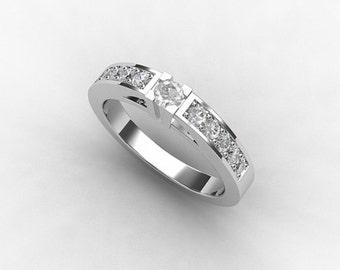 Diamond ring, white gold, wedding band, diamond, half eternity band, micro pave, white gold wedding, engagement ring