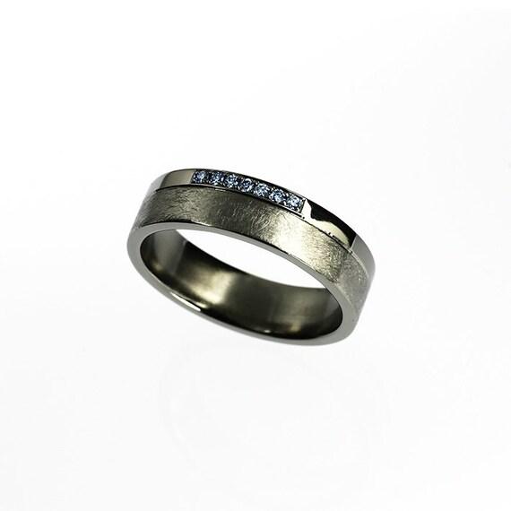 Titanium Wedding Band Blue Diamond Ring Mens By TorkkeliJewellery