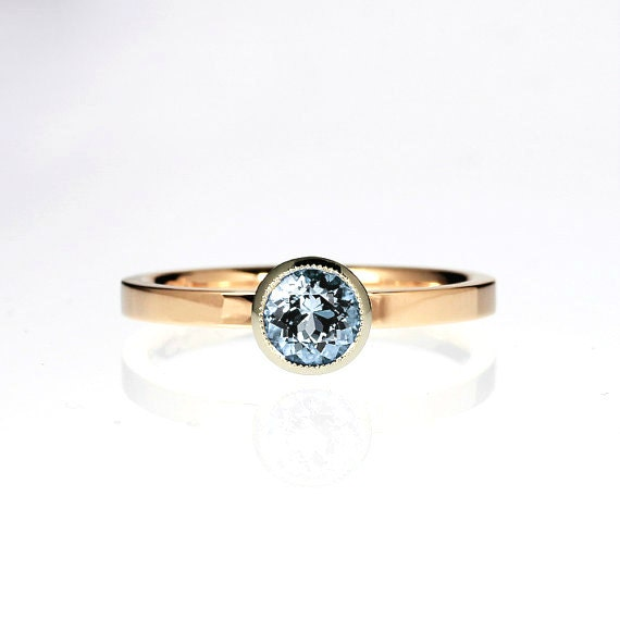 Items similar to Aquamarine engagement ring rose gold white gold solitaire