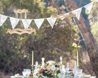 Ivory vintage style wedding garland,  sample flag