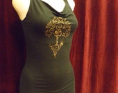 Grounded Goddess Top / Organic / Black / Gold / Tree / Tank / Weaved / Airbrushed / Dance