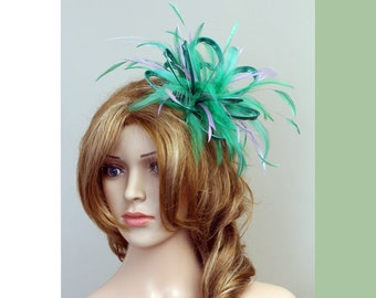 Emerald Green and Lilac Feather Fascinator Hat - wedding, ladies day - choose any colour feathers & satin