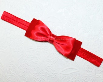 Snow White Double layered satin Red Bow Headband. Baby Headband. Newborn Headband. Girl Headband. Photo Prop.