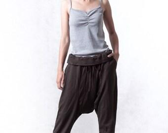 NO.118 Dark Brown Cotton Jersey Drop Crotch Yoga Pants, Fold-Over Waistband Harem Casual Trousers