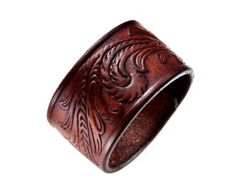Customizable Western Leather Cuff 1.75 Inches Wide - Third Anniversary Gift - Leatherwork - Gift Box Included