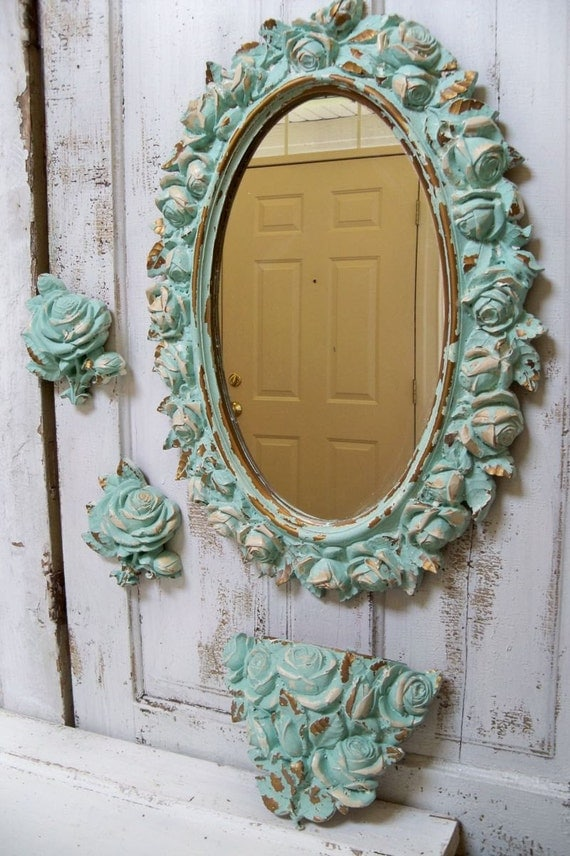 Large Ornate Framed Wall Mirror Distressed Sea Glass