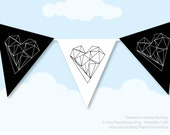 GEOMETRIC HEARTS VALENTINE'S Day, Bunting Banner, Printable Love Hearts, Black & White, Party Decoration, Diy, Happy Valentine's Day, Large