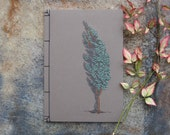 Cypress Tree. Hand Embroidered Notebook. A5 Tree Journal. Nature Brown Notepad. Eco Look Notebook. Nature Art Notebook. Stitch Art Journal