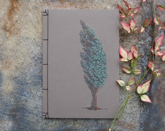 Cypress Tree. Hand Embroidered Notebook. Tree Journal. Botanical Journal. Nature Art Notebook. Stitch Art Journal. Gift for Him. Men's Gift