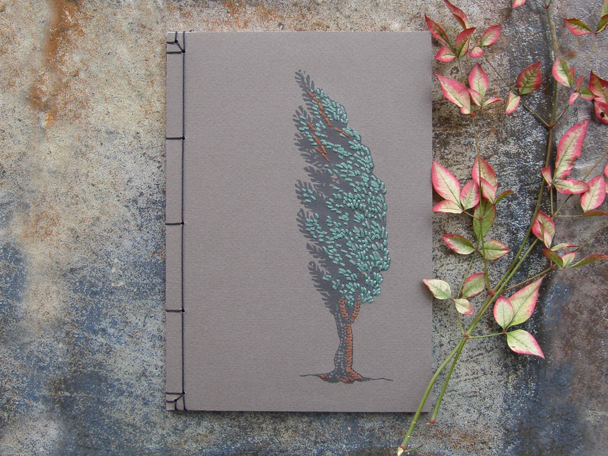 Cypress tree hand embroidered notebook journal