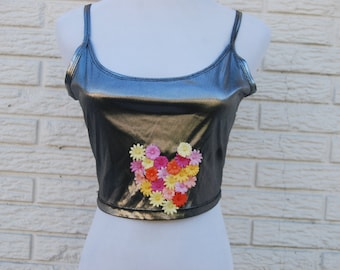 Metallic Floral Heart Tank