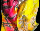 """Asian Infusion SILK SCARF for women/ Bamboo/Hand painted Silk Scarf by New York Artist Joan Reese/ 100% silk/""""One of a kind"""""""