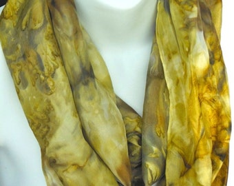 Earth  Tones SILK SCARF. Hand Painted Silk Scarf by New York City artist Joan Reese/100%Silk/11''x60""