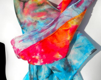 High Impact SILK SCARF. Hand Painted Silk Scarf by New York City artist Joan Reese/100%Silk/11''x60""