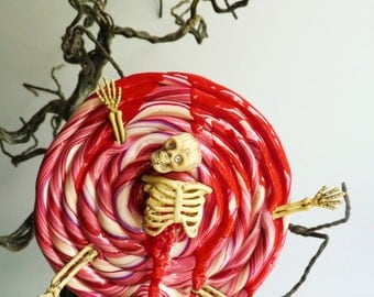 NOW 50% OFF!! Halloween Prop Scary Skeleton Gory Macabre Lollipop !! Last One !! Costume Accessory WAS 21.99