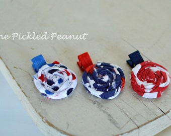 4th of July Baby Bow Red White Blue Flower Hair Clip  Baby Hair Clip Baby Headband Toddler Hair Clip Military Baby Bow American Flag Bow