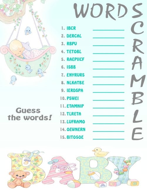 word scramble printable baby shower game by printshowergames