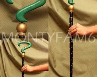 RIDDLER CANE Green Black Spiral Question Mark Costume Walking Stick Prop Cosplay