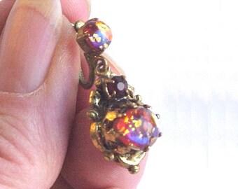 Dragon's Breath Pendant Piece or Single Earring - Vintage Czechoslovakian Glass Opal - Faux Saphiret or Sapharine -