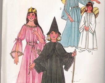"""Vintage 1976 Simplicity 7684 Girls Angel Fairy Witch Princess Gown and Cape Halloween Costumes Sizes Large 10 - 12 Breast 28 1/2"""" - 30"""""""