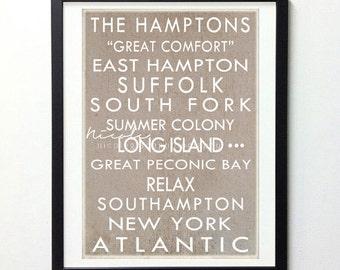 The Hamptons Subway Art Vintage Style 8x10 Print // Tan Brown and White