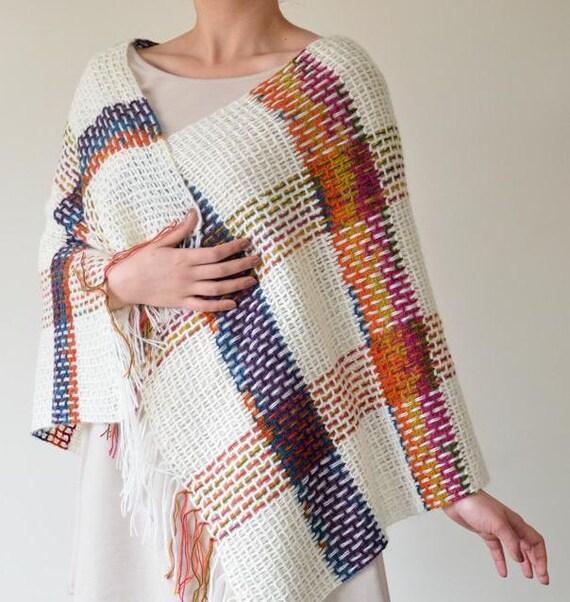 Crochet Plaid Shawl Kilim Cozy Shawl Checkered by ReddApple