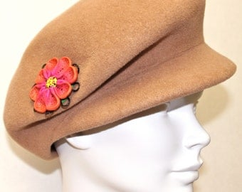Camel Felt  Womens Winter Cap, Womens Hat, Handmade Polymer Clay Brooch
