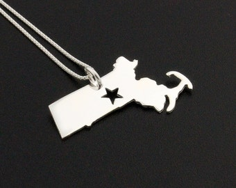 Massachusetts necklace sterling silver Massachusetts state necklace with star comes with Box chain hometown jewelry engraveable gift