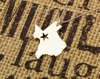 Texas necklace personalized sterling silver Texas state necklace with Star comes with Box chain Hometown Jewelry Gift  (org 2)