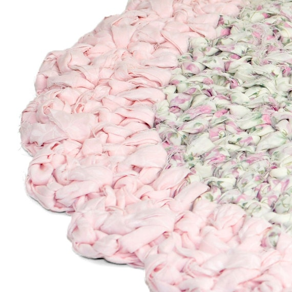 Shabby Chic Rag Rug Floral Rose Fabric Scalloped By