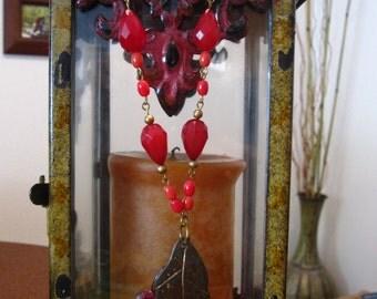 Magenta and Gold Leaf Pendant Necklace