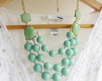 Multilayer Mint Beads Bubble Statement Necklace / Anthropologie Necklace / Chunky Statement / Layered Necklace / Bib Jcrew Necklace