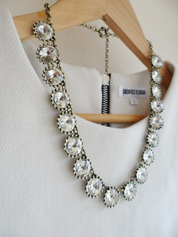Silver Bronze Crystal Necklace Silver / Antique-bronze Clear Jewel Crystal Bling Statement Necklace Chunky Statement Bib Jcrew Necklace
