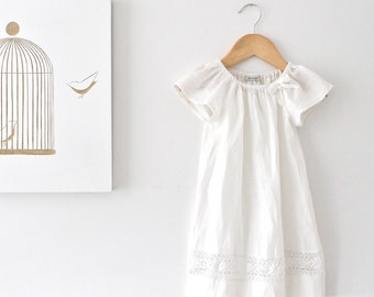 Baby Girl Baptism Dress-French Ivory Linen and Lace Dress-Special Occasion-Christening Dress-Children Clothing by Chasing Mini