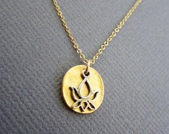 Mini Silver Lotus Charm on Vermeil disc, lotus charm necklace,  Lotus Jewelry, lotus pendant, lotus