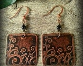 Etched Copper Earrings, Square with Spiraling Vines