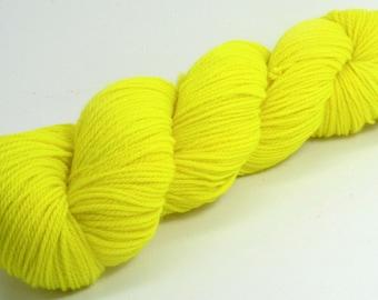 Orion - Hand Dyed Superwash Merino Wool Sport Yarn - Colorway: Neon Yellow