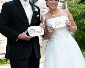 """Mr & Mrs and Thank You Wedding Signs: Double Sided Wedding Sign Set  """"Mr"""" and """"Mrs"""" on one side """"Thank"""" """"You"""" on the other."""