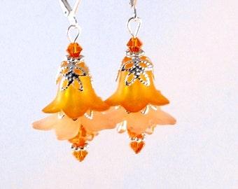 Orange, Peach & Silver Fairy Flower Earrings, Orange Jewelry, Orange Sherbet, Peach Jewelry, Jewelry for Women, Flower Jewelry, Gifts