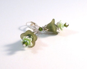 Olive & Pale Green Silver Fairy Flower Earrings, Green Jewelry, Flower Jewelry, Silver jewelry, Bridesmaids Jewelry, Womens Fashion