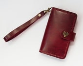 iPhone Wallet - Leather iPhone 6s Case with Tree Button Snap in Burgundy Red - for iPhone 6s Plus 6s 6 Plus 6 5 5s 5c 4s - Free Monogram