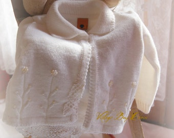 Altered couture baby sweater, baby boho, baby free people, country baby, cottage chic baby sweater,  farmbaby sweater